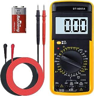 Digital Multimeter, Multimeter Voltmeter Amperemeter Ohmmeter Strommessgerät AC/DC Multi Tester mit LCD Anzeige und Hintergrundlicht Testet Spannung, Strom, Widerstand für Zuhause Factory Labor
