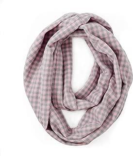 Plaid Infinity Scarf with Pocket - Hidden Zipper Pocket Scarf Knit Travel Scarf