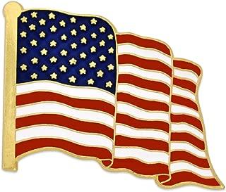 Made in USA Waving American Flag Enamel Lapel Pin - Gold