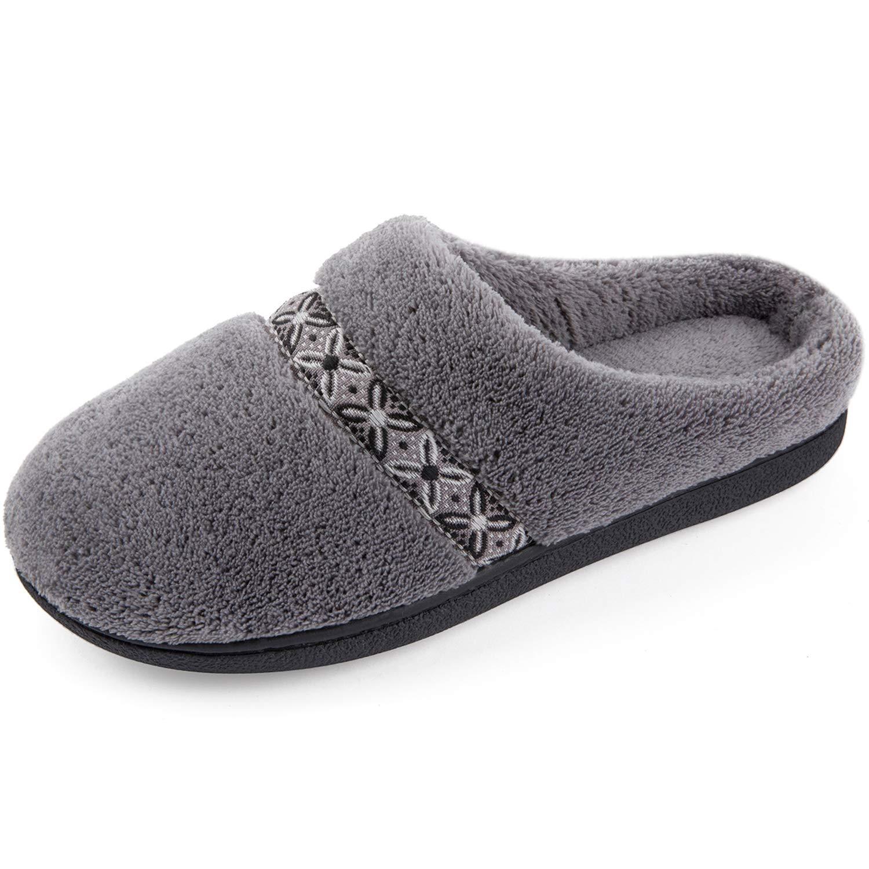 Image of Dark Gray Fleece Slip On House Slippers for Women - See More Colors