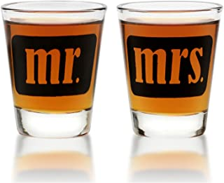 Mr. & Mrs. Shot Glasses - For Couples - Engagement, Wedding, Anniversary, House Warming, Hostess Gift - 1.75 ounce