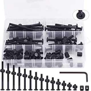 Keadic 141Pcs M6 x 15-80 mm Baby Bed Screws Hardware Replacement Kit, Black Hex Socket Cap Bolts Barrel Nuts Assortment Ki...