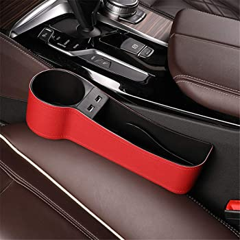 Car Seat Gap Organizer Front Seat Gap Filler Premium Leather Storage Multifunctional Car Seat Organizer Driver and Passenger Side