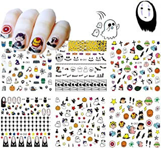 Halloween Nail Art Stickers 6 Sheets Water Transfer Nail Decals for Woman Girls Kids Nails Beauty Designs Manicure Tips Decorations Halloween Party Supplies DIY or Nail Salon