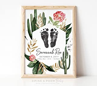 Arvier Floral Cactus Nursery Decor Girls Desert Southwest Custom Birth Announcement Wall Art Personalized with Your Baby Footprints Framed Wall Art