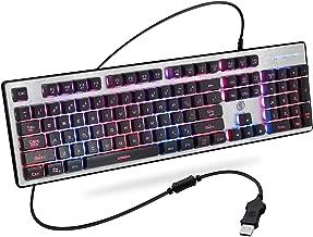 Gaming Keyboard, SMBOX Backlit Keyboard USB Wired LED Keyboard Rainbow Keyboard Full Size Light Up Keyboard for PC, Laptop, Computer, Mac, Windows 10/8/7/Vista/Xp Black