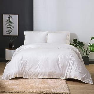 Bedsure 100% Washed Cotton Duvet Cover Sets Queen Full Size White Bedding Set 3 Pieces (1 Duvet Cover + 2 Pillow Shams)
