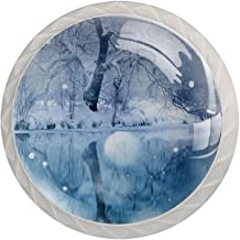 Lade Handgrepen Kabinet Knoppen Rond Een Pack van 4 Lade Knoppen, Wit Sneeuw Landschap