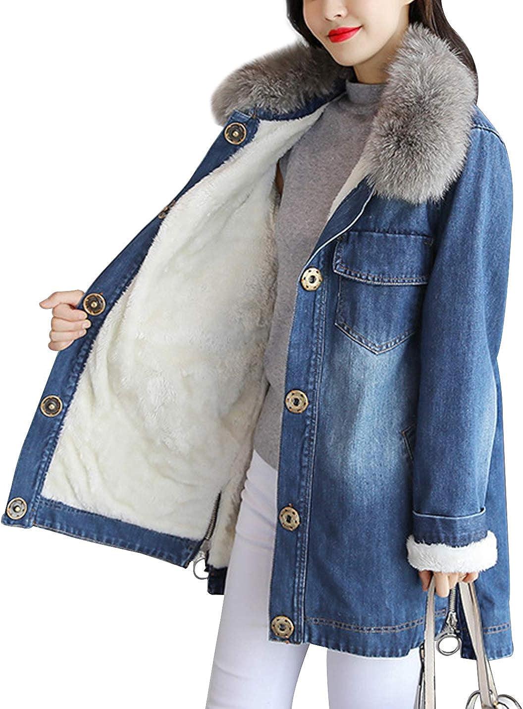 Gihuo Women's Thick Sherpa Fleece Lined Mid-Long Jean Denim Jacket Coat