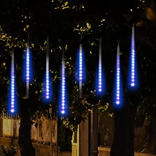 MIJOYE Falling Rain Christmas Lights, Waterproof LED Meteor Shower Lights with 30cm 8 Tube 144 LEDs, Icicle Snow Fall String Cascading Lights for Wedding, Party, Holiday, Xmas Tree, Garden (Blue)
