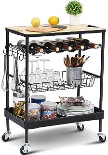 KINGRACK Wózek do przechowywania wyspa kuchenna z stojakiem na wino, wózek do serwowania z drewnianym blatem, 4-poziomowy ...