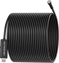 5.0MP USB Endoscope, 50FT 8.5mm Borescope, IP67 Waterproof Inspection Camera with Semi-Rigid Cable and 6 Adjustable LEDs, Snake Camera for Pipe Sewer Automotive Vent Inspection