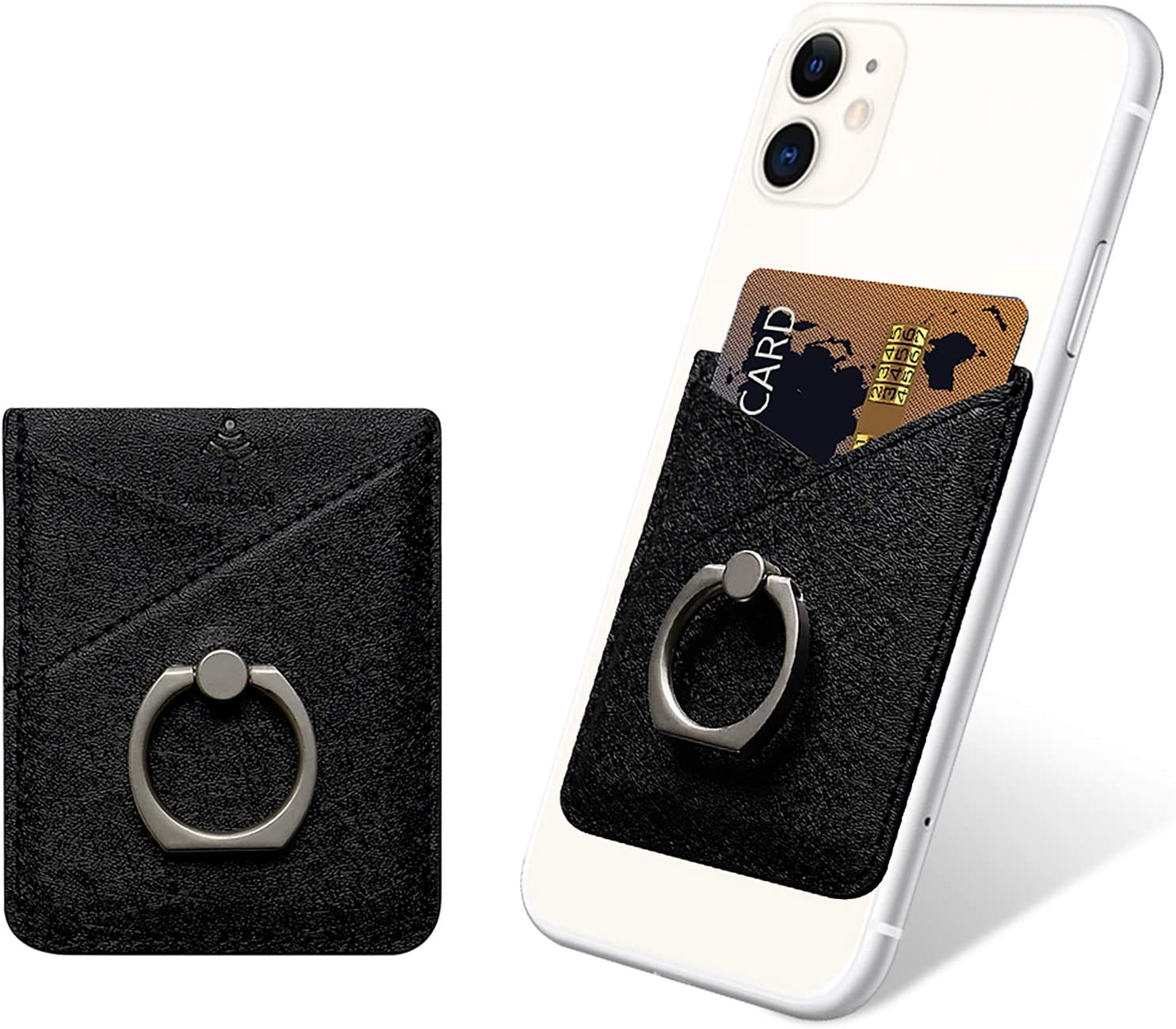 takyu Card Holder for Back of Phone, Cell Phone Card Holder with Ring Grip Phone Wallet Stick on Phone or Case, RFID Blocking Credit Card Holder Card Pocket Compatible with Most Smartphones (Black)