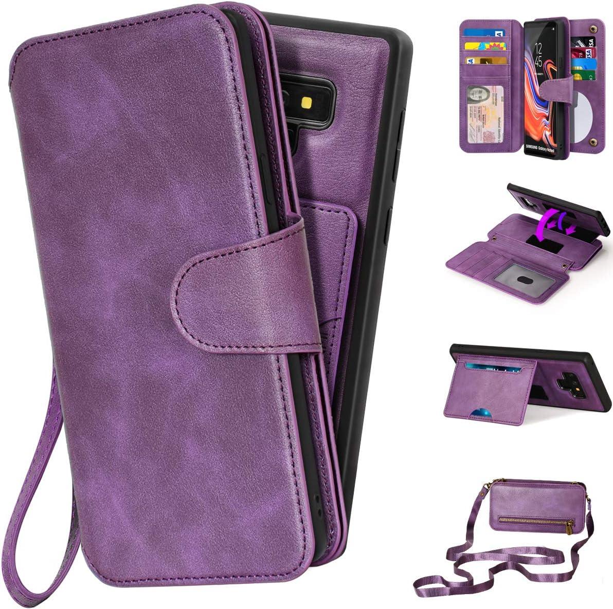 CORNMI Note 9 Wallet Case, Mirror 13 Card Holders Crossbody Wrist Strap Kickstand Detachable Purse Leather Folio Zipper Pocket Flip Protective Cover for Samsung Galaxy N9 Purple