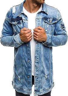 XWLY Men Denim Jacket Regular Fit Long-Sleeve Long Jacket Vintage Washed Destroyed Patchwork Denim Jacket Spring and Autum...