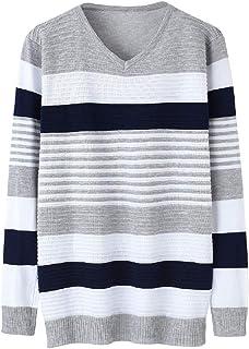 QUHS Men's Striped Splice Knit Slim-Fit V-neck Thin Long Sleeve Jumper Sweaters