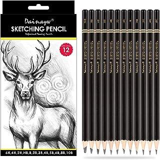 مجموعه مداد طراحی حرفه ای Dainayw ، مداد 12 قطعه هنری 10B ، 8B ، 6B ، 5B ، 4B ، 3B ، 2B ، B ، HB ، 2H ، 4H ، 6H مداد سایه گرافیت برای مبتدیان