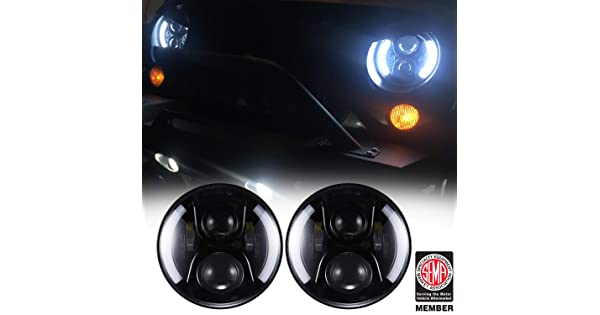 Hooke Road 7 inch LED Headlights w//DRL Halo Angel Eyes /& Turn Signal 97-18 Jeep Wrangler JK TJ /& Wrangler Unlimited LED-C*2-CA