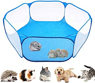 Zafina Small Animals Cage Tent,Breathable Transparent Pet Playpen,Portable Yard Fence for Guinea Pig, Rabbits, Hamster, Chinchillas,Hedgehogs,Reptile or Other Small Animals