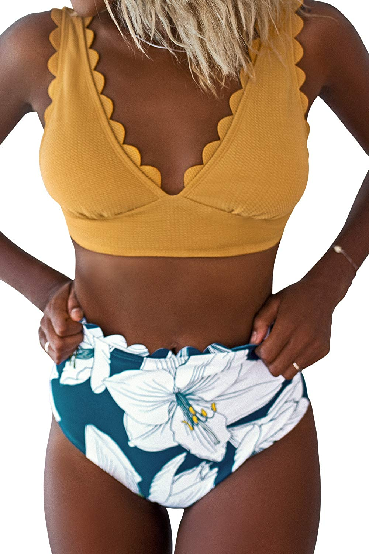 CUPSHE Women's Yellow Floral High Waisted V Neck Scalloped Bikini Set