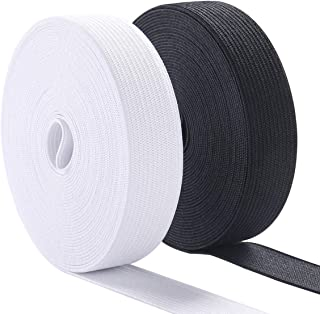 Knit Elastic Bands for Sewing Heavy Stretch High Elasticity Flat Elastic Cord 3/5 Inch Wide Braided Elastic Spool 10 Yard (5 Yard White,5 Yard Black)