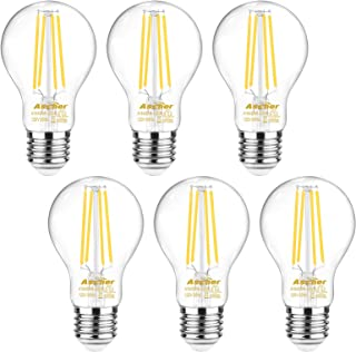 Ascher 60 Watt Equivalent, E26 LED Filament Light Bulbs, Daylight White 4000K, Non-Dimmable, Classic Clear Glass, A19 LED Light Bulb/6-Pack