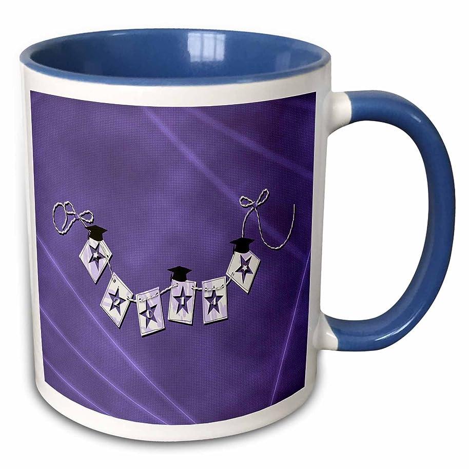 3dRose Beverly Turner Graduation Design - 2014 Graduation Caps, Star Cutout Look Swag Flag Yarn Tied, Purple - 15oz Two-Tone Blue Mug (mug_192527_11)