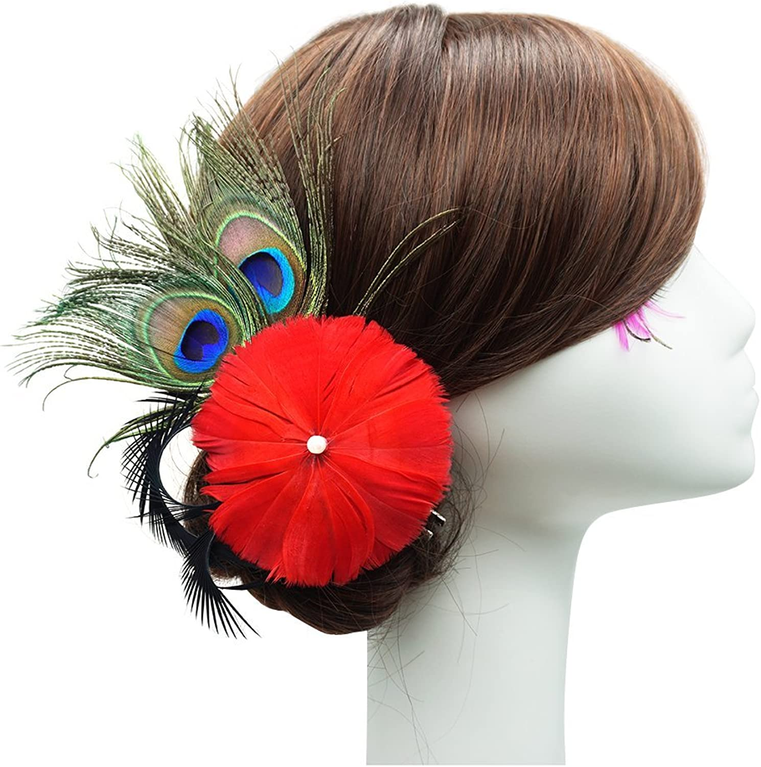Blank K Dance bluee Dance Performance Feather Hair Clip for Party Club