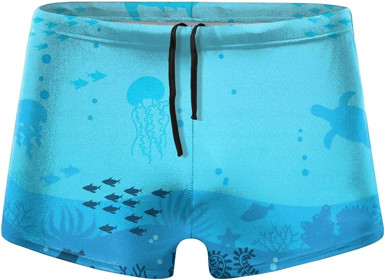 Christmas Sea Underwater Background Ocean Bottom Men's Swimming Trunks Fitness Swimwear Boxer Pants Board Shorts