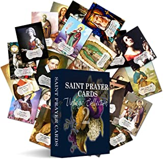 54 Assorted Catholic Saints Prayer Holy Cards: 2 sets of 27 different Patron Saints with patronage and a prayer on the back (Vintage)