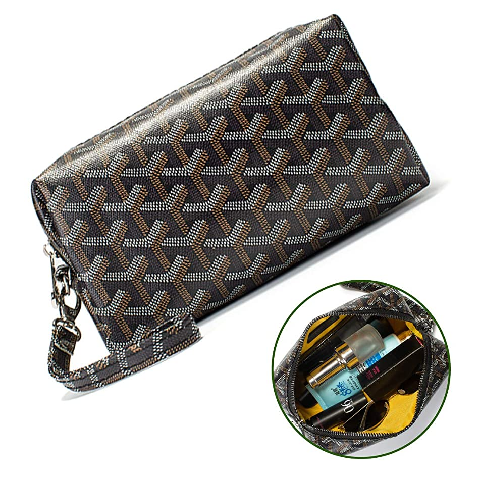 Designer Cosmetic Bags Toiletry Travel Makeup for Womens Organizer Pu vegan Leather Make up Wrist Wallet Broken Silver (Cosmetic Bags black)