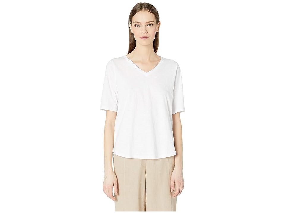 Eileen Fisher Organic Cotton Slub V-Neck Top (White) Women
