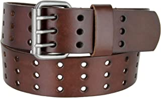BS200 Three Hole Genuine Leather Casual Jean Belt-Brown 1-3/4 Wide (38 Brown)