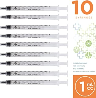 1ml Syringe with Luer Slip Tip - 10 Sterile Syringes by Care Touch – No Needle, Great for Dispensing Oral Medicine and Home Care