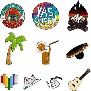 10 PCS Enamel Lapel Fire Guitar Leisure Life Pin Set Decoration Clothing Accessory Gift