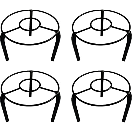 ORCHID ENGINEERS Metal Pot Stand, Black, 19 x 19 x 10 cm, 2 Pieces