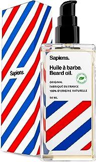 Aceite para Barba 50ml Sapiens 100% Natural • Made in France • Hecho con aceite de ricina, 5 aceites vegetales y Vitamina E • Promueve el crecimiento de la barba • Cuidado y mantenimiento barba