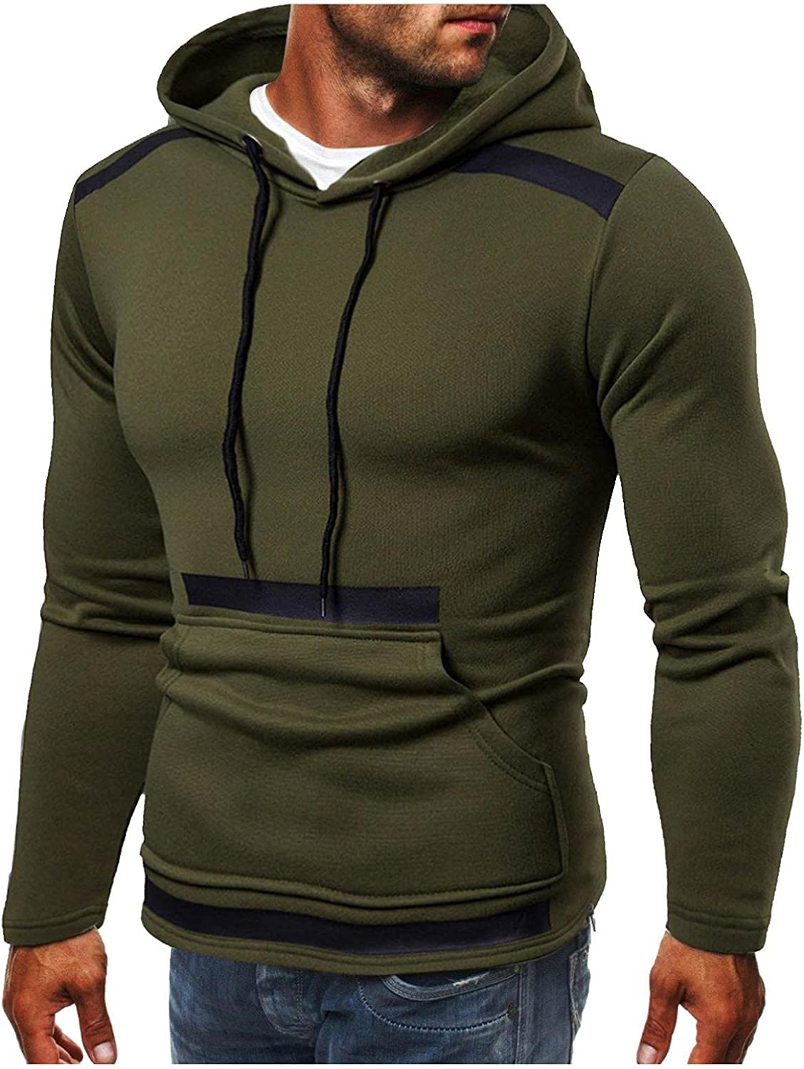 Aayomet Pullover Hoodies for Men Solid Long Sleeve Hooded Sweatshirts Casual Workout Sport Tops Sweaters Blouses