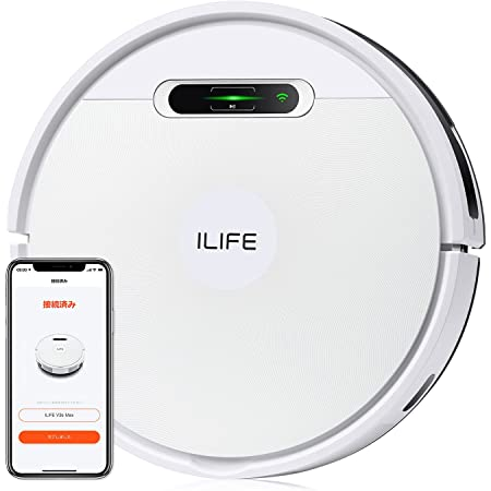 ILIFE アイライフ V3s Max ロボット掃除機 2000Pa 強力吸引 大容量ダストボックス ダストバッグ3枚入り Wi-Fi対応 ブラシレス吸引口 水拭き 一台二役 自動充電 落下防止 衝突防止