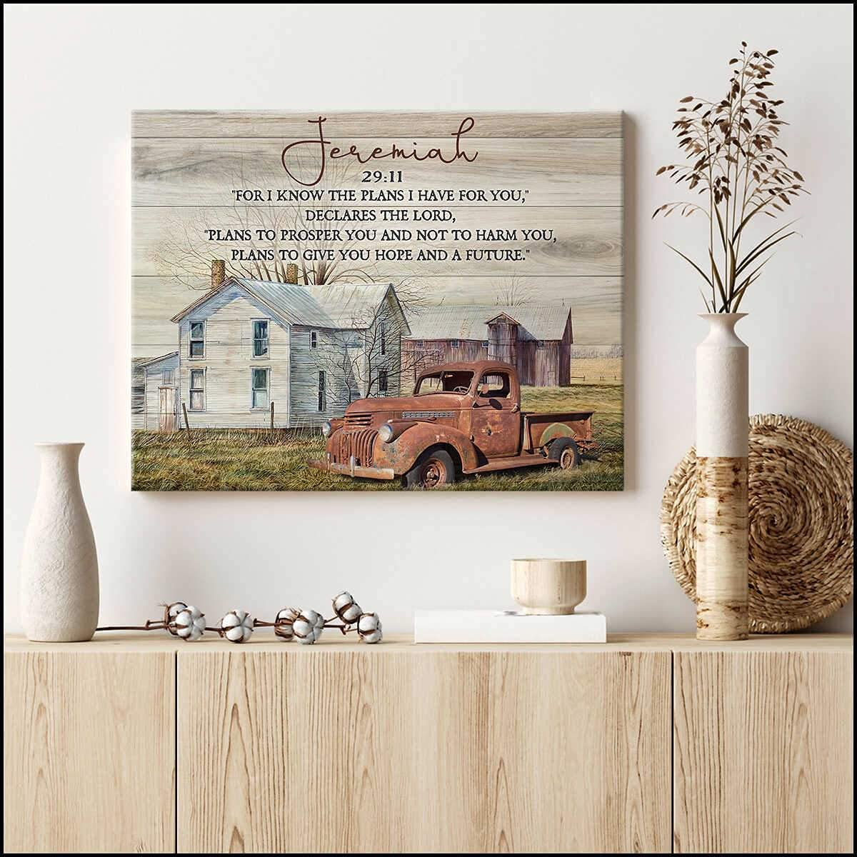 Country Living and Rusty Old Vintage Truck Jeremiah 29 11 Farm Farmhouse Wall Art Decor (canvas framed, 14x11)