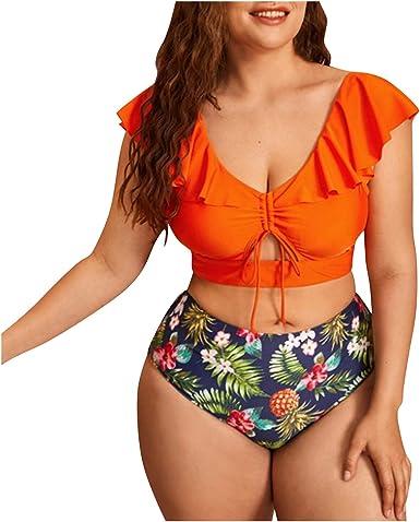 Bikinis Mujer Talla Grande Tiro Alto brasileños Sexy Volante ...