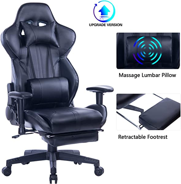Blue Whale Gaming Chair With Adjustable Massage Lumbar Pillow Retractable Footrest And Headrest Racing Ergonomic High Back PU Leather Office Computer Executive Desk Chair 8239Black