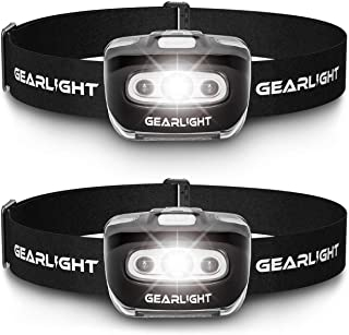 GearLight LED Headlamp Flashlight S500 [2 PACK] - Running, Camping, and Outdoor Headlamps - Best Head Lamp with Red Safety...