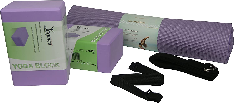 Yogavni Yoga Starter Kit (Mat, Two Foam Blocks, Black Harness Strap and Black Loop Strap with D-Ring)