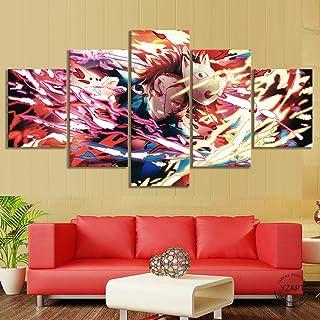 SINGLEAART 5 Pièces Toile Peinture Impression,Décoration Maison Moderne,Modulaire Panneaux Motif Tableau,Cadeau d'annivers...
