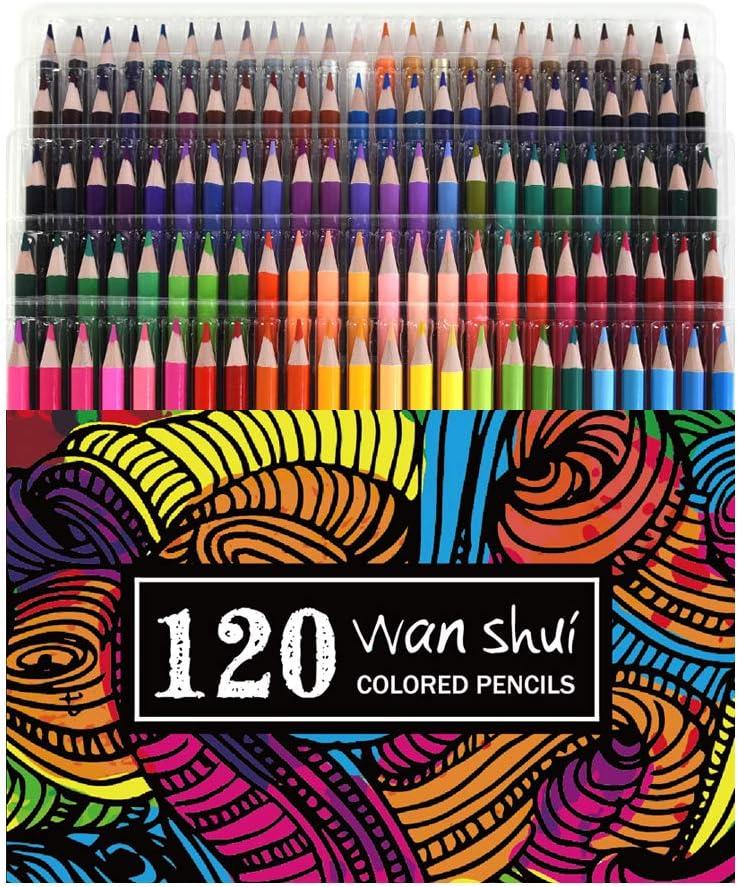 120 Colored Pencils - Premium Soft Core 120 Unique Colors No Duplicates Color Pencil Set for Adult Coloring Books, Artist Drawing, Sketching, Crafting
