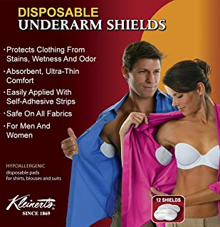 "Kleinert's Disposable Peel & Stick Absorbent Underarm Pads. 12 Pads (6 Pair) Style # MW-4900. Measures 5"" W x 5 3/4"" L. Discreet, Comfortable, Sweat Free, Odor Blocker, Peel and Stick Dress Shields"