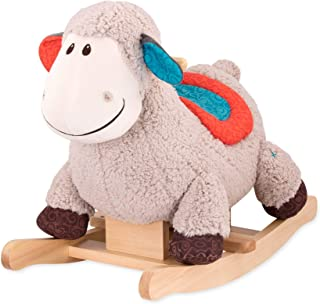 B. toys by Battat – Loopsy Wooden Rocking Sheep – Rodeo Rocker – Plush Ride On Sheep Rocking Horse for Toddlers & Babies 18M+, Multicolor