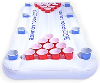 GoPong Pool Lounge Beer Pong Inflatable with Social Floating, White (Renewed)