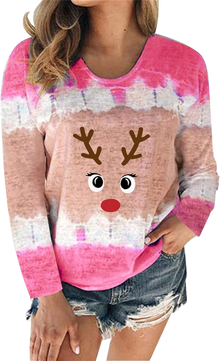 Gwewei4df Womens Christmas Plus Size Casual Long Sleeve Free shipping anywhere in the nation Crewneck Excellent